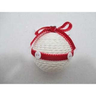 Boule de Noël Tissu - Blanc et rouge
