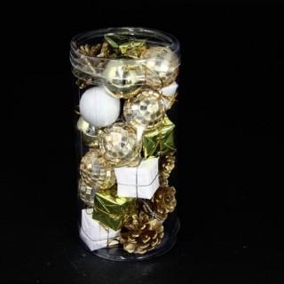 Kit de décoration pour sapin de Noël - 24 Pièces - Or et blanc
