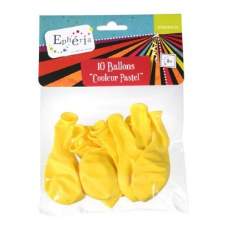 10 Ballons gonflables Pastel - Jaune