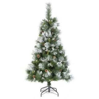 Sapin de Noël artificiel Semi-floqué - H. 210 cm - Vert et blanc