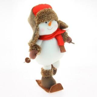 Peluche de Noël Bonhomme de neige - H. 41 cm