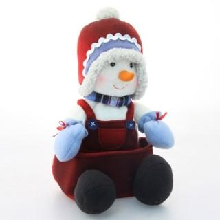 Peluche de Noël Bonhomme de neige Assis - H. 34 cm