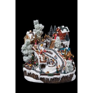 Village de Noël Piste de luge - Lumineux, animé et musical