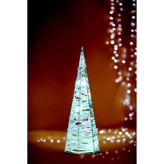 Décoration de Noël lumineuse Cône - Rotin et métal