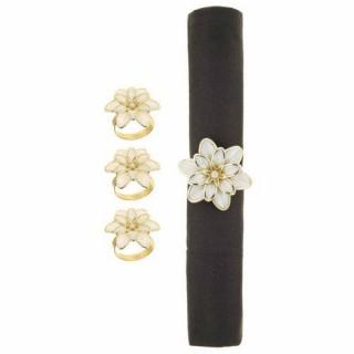 4 Ronds de serviette Fleurs - Blanc et or