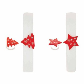 4 Ronds de serviette Sapin et Etoile - Bois - Rouge et argent
