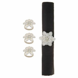 4 Ronds de serviette Fleurs - Blanc et argent