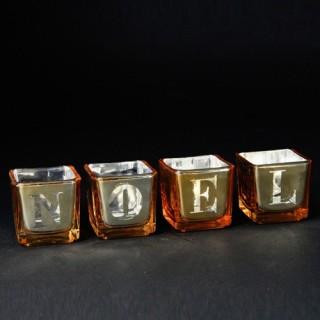 4 Photophores de Noël - Jaune et argent
