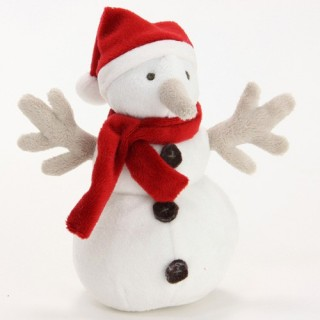 Peluche de Noël Bonhomme de neige - H. 19 cm