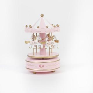 Carrousel musical - Bois - Rose