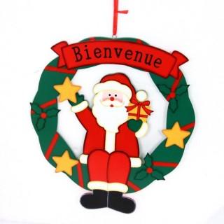 Couronne de Noël - Bois - Père Noël