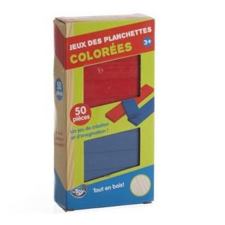 Jeu de construction en bois - 50 Planchettes colorées