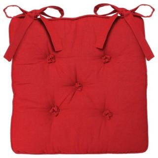 Galette de chaise 5 Boutons - 40 x 40 cm - Rouge