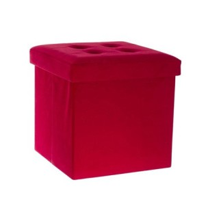 Pouf Velour Leandre - Pliant - Rouge