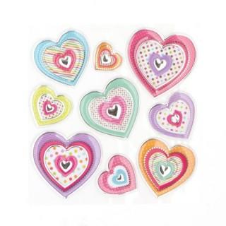 Sticker Relief - 30 x 30 cm - Coeurs