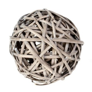 Boule décorative en Osier - Diam. 12 cm - Gris
