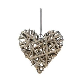 Coeur décorafif en Osier - H. 20 cm - Gris