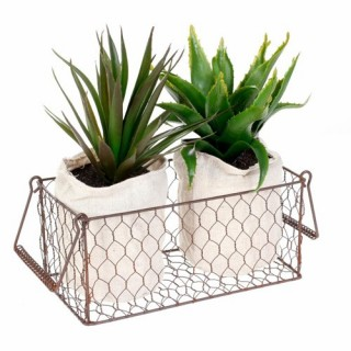 2 Aloe vera artificielles en panier