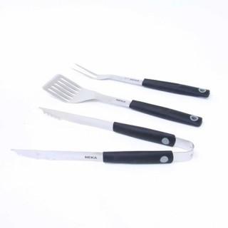 Set 3 Ustensiles pour barbecue - Plastique et acier inox