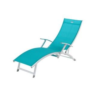 Transat / Chaise longue 4 positions Ibiza - Aluminium - Bleu lagon