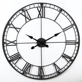 Pendule Vintage Métal - Diam. 90 cm. - Noir
