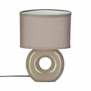 Lampe à pied rond - Céramique - Taupe