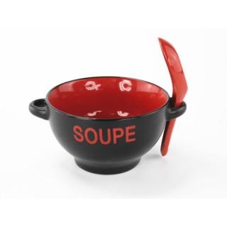 Bol à soupe avec cuillère - Rouge