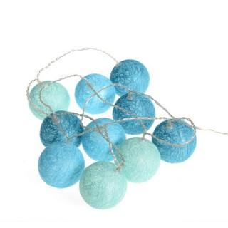Guirlande lumineuse 10 Boules - Diam. 6 cm. - Bleu