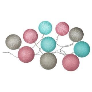 Guirlande lumineuse 10 Boules - Diam. 6 cm. - Multicolore