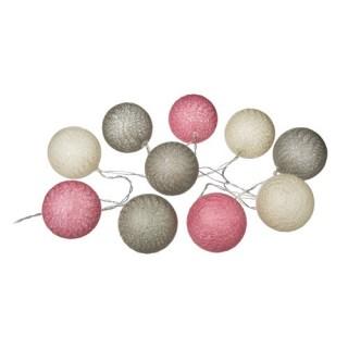 Guirlande lumineuse 10 Boules - Diam. 6 cm. - Rose et taupe