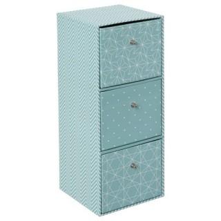 Boîte nature Scandi - 3 tiroirs - Bleu