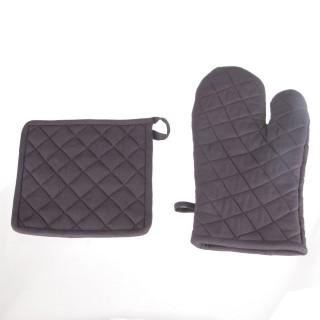 Gant et manique - Coton - Gris clair