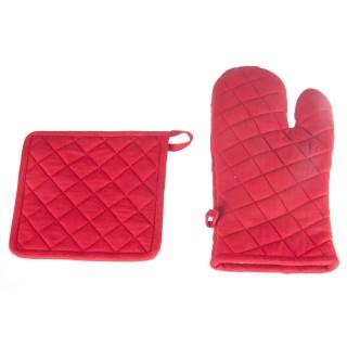 Gant et manique - Coton - Rouge