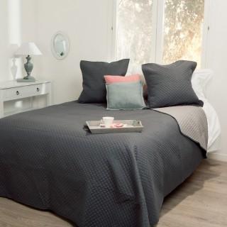 Dessus de lit et 2 taies Bicolore - 260 x 240 cm. - Gris foncé et gris clair