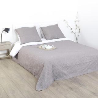Dessus de lit et 2 taies Arabesque - 260 x 240 cm. - Taupe