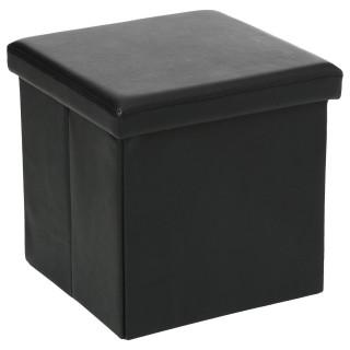 Pouf carré Pliant - PVC - Noir