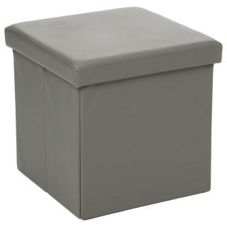 Pouf carré Pliant - PVC - Gris
