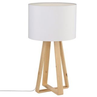 Lampe à pied en bois - H. 47,5 cm. - Blanc