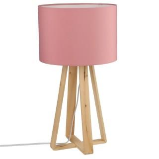 Lampe à pied en bois - H. 47,5 cm. - Rose