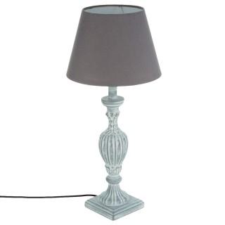 Lampe Patine en bois - H. 56 cm. - Gris