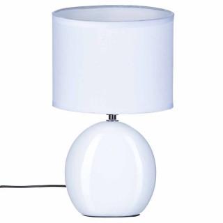 Lampe Ovale en céramique - H. 31 cm. - Blanc