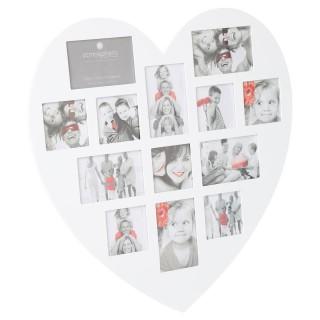 Cadre photos pêle-mêle Cœur - 13 encarts - Blanc