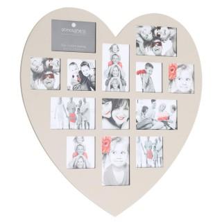 Cadre photos pêle-mêle Cœur - 13 encarts - Taupe