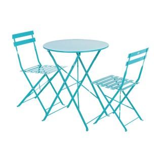 Table ronde pliante Camargue - 2 Places - Bleu lagon