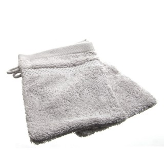 2 gants de toilette- Coton peigné - Gris clair