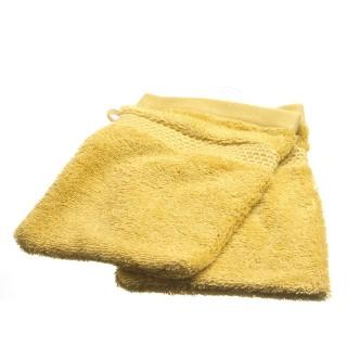 2 gants de toilette- Coton peigné - Ocre