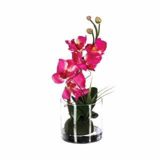 Composition Orchidée artificielle - H. 32 cm. - Fuchsia