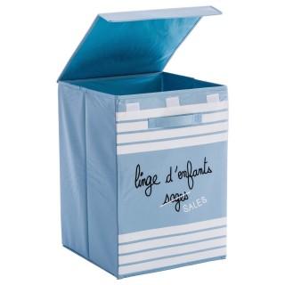 Bac à linge avec poignées - H. 50 cm. - Bleu