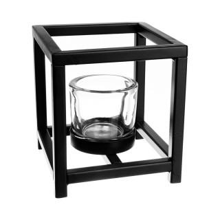 Photophore carré en métal - 1 verre