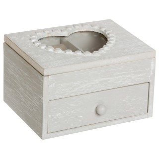 Boîte à bijoux Cœur - 1 tiroir - Gris
